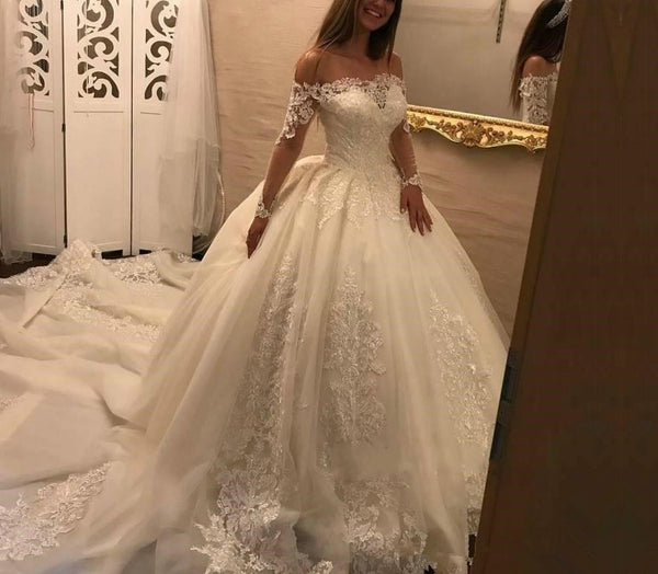 54d1bce9d9814 New Arrival Wedding Dresses Ball Gown 2019 robe de mariage Boat Neck Lace  Long Sleeve Tulle
