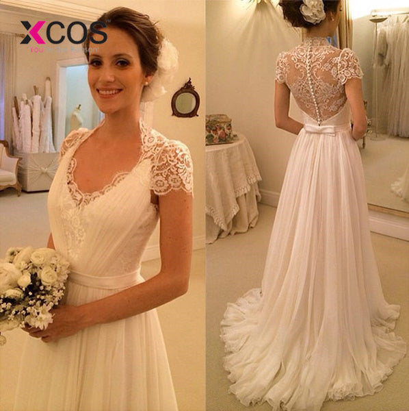 XCOS Vintage Tulle Beach Wedding Dress 2018 White Cap Sleeves V Neckline Fitted A Line Bridal Gowns Robe De Mariage