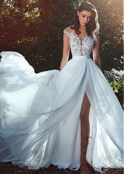 a93bed0ad5 Vestido De Noiva 2018 Lace Beach Wedding Dresses A-Line Appliques Sexy High  Slit Saudi