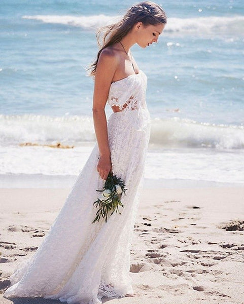 bbe2729aaa ... Sexy Strapless Long Beach Wedding Dress 2019 Two Pieces Lace Boho Wedding  Dress Bridal Gown Tulle