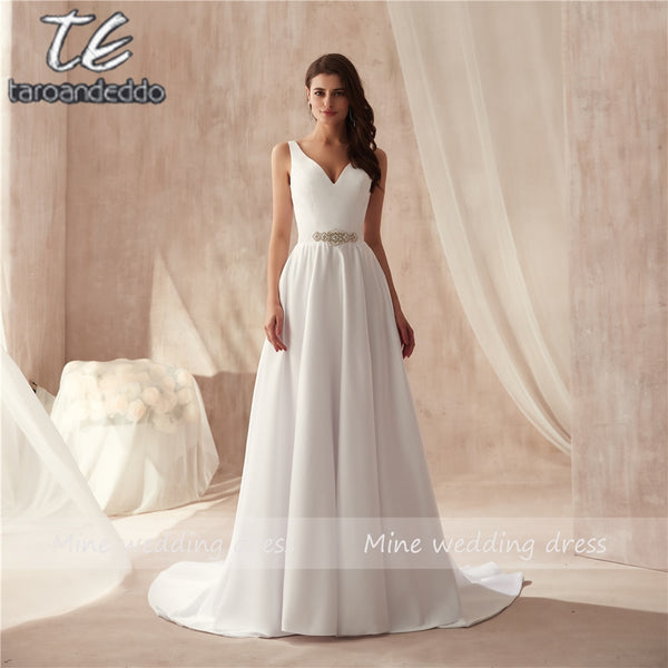 V-neck Beading Center Matte Satin Wedding Dress Under 70 Simple Style A-line Bridal Dress Beach Marry Gowns vestido noiva