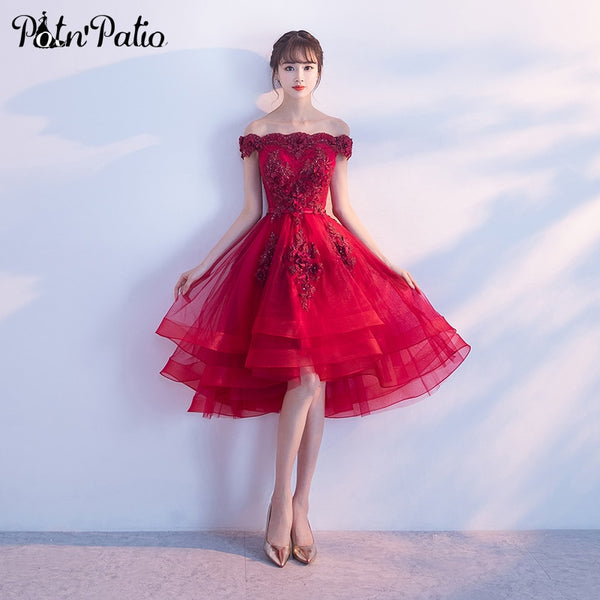 038369557b94 Wine Red High Low Prom Dresses 2019 Sexy Boat Neck Off The Shoulder Luxury  Appliques Flower ...