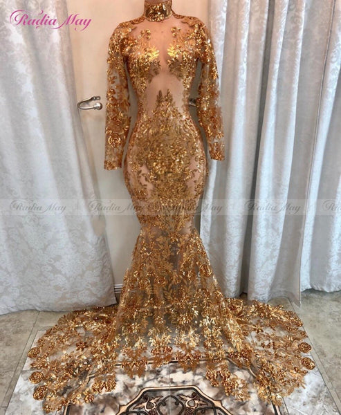 bfd33d24 Sparkly Gold Sequins Mermaid Long Sleeves Prom Dresses Black Girls Sheer  High Neck Court Train African
