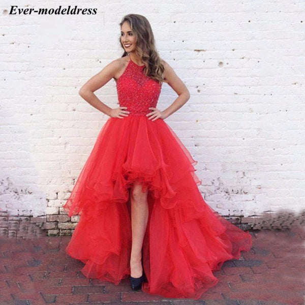 8772a24a9a 2019 High Low Red Prom Dresses Halter Beaded Sequined Tiered Special  Occasion Dress Plus Size vestido