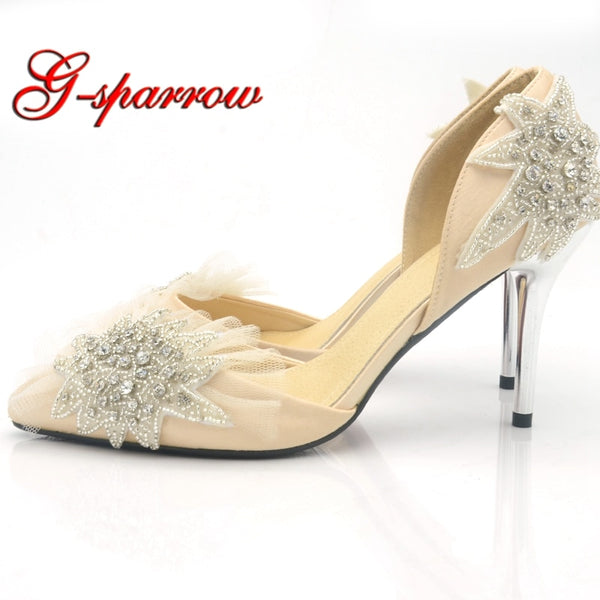 41f93f55c3 Champagne Satin Wedding Shoes Handmade Pointed Toe Starfish Crystal Party  Prom Shoes Women Pumps Mother of ...