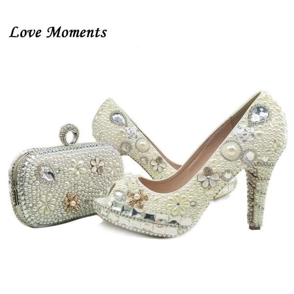 60410e68d1c Love Moments Beige white Pearl Wedding shoes with matching bags high heels  shoes woman Peep ...