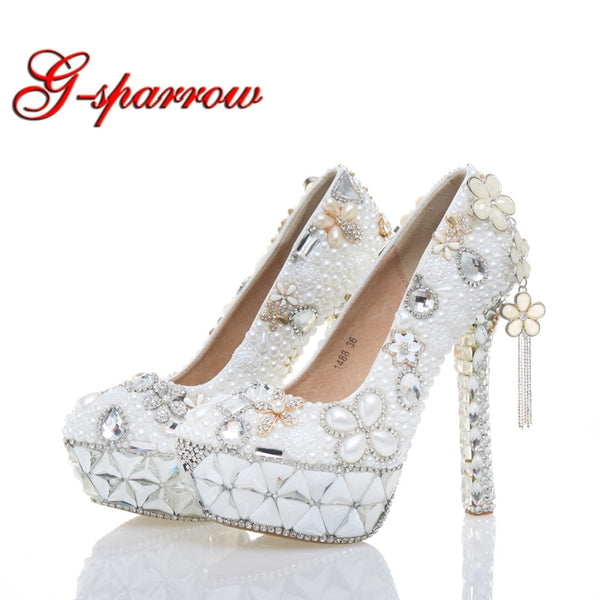 White Pearl Wedding Shoes High Heel Women Real Leather Shoes Plus Size 43  Birthday Party Prom 5f010479f4dd