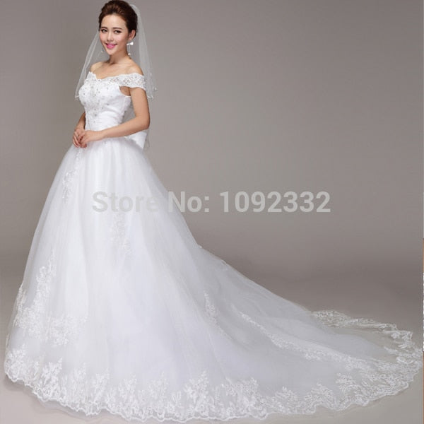 s 2016 new plus size  women Spring Princess ball Bridal gown lace v-neck wedding dress Korean version tailing