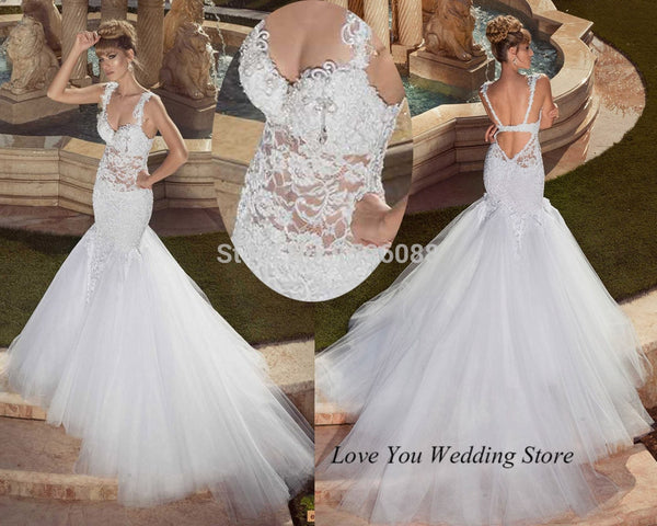 Summer Sexy Backless Wedding Dresses 2015 Russian Style Berta Bride Wedding Gowns Lace Tulle Long Tail Vestido de Noiva Sereia