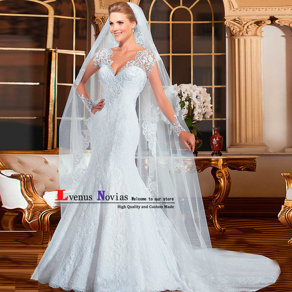vestido de noiva sereia Cheap Lace Mermaid Wedding Dress 2018 Bridal Gown Sexy V-Neck Long Sleeve Wedding Dresses Robe de mariee
