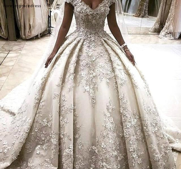 Princess Wedding Dresses 2019 Luxurious Appliques Off The Shoulder Country Garden Bride Bridal Gowns Plus Size Custom Made