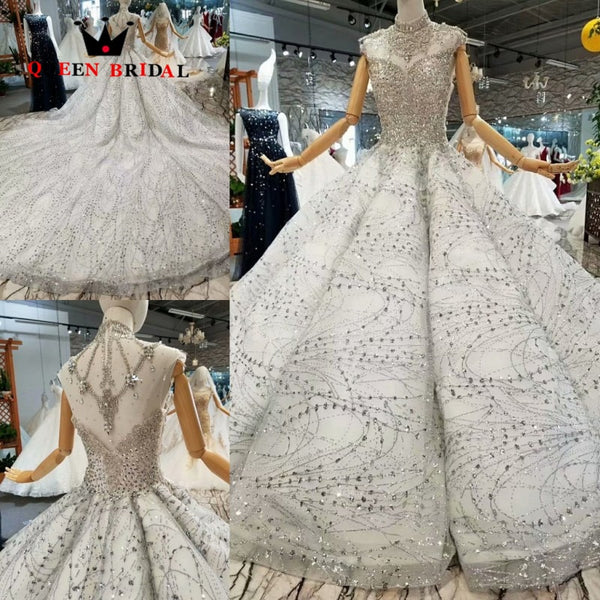 New 2019 Vestido De Noiva Custom Made QUEEN BRIDAL Crystal Beaded Luxury Wedding Dresses Robe De Mariee Bridal Gown WD197