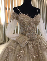 UMK Vintage Champagne Lace Wedding Dress 2019 Luxury Long Sleeve Vestido De Noiva Beading Appliques Ball Gown Wedding Dresses