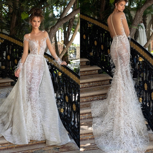 Real see through 2019 back shawl wedding gown in turkey big train tail long train crystal wedding dresses luxury feathers HA053
