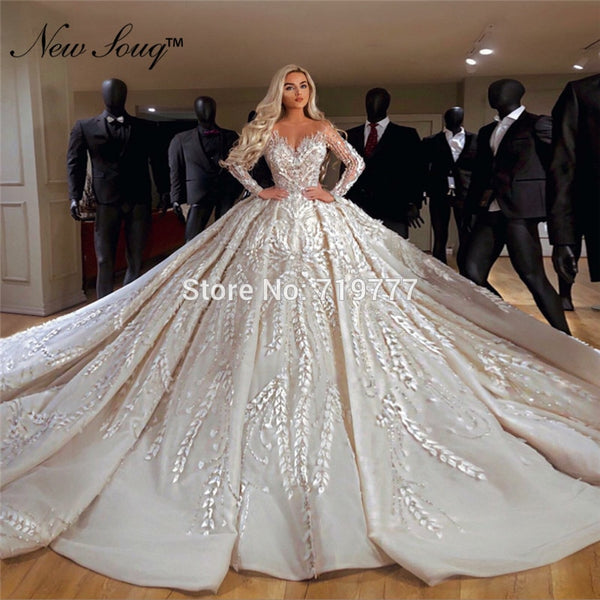 Muslim Wedding Dresses 2019 Couture Long Sleeves Middle East Women Bridal Gowns Robe De Mariee Dubai Kaftans Vestido De Noiva