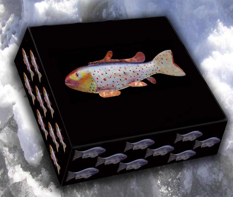 Poster 4 Oscar Peterson Rainbow Trout Fish Decoy as well 8 Shiner Fish Spearing Decoy By Oscar Peterson O 74 C 0144122bb6 together with 1359328 likewise 251359740484 furthermore Fish Decoy Note Cards Set 1. on oscar peterson fish decoy