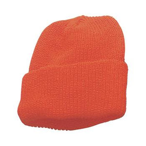 Safety-Orange Acrylic Knit Watch Cap