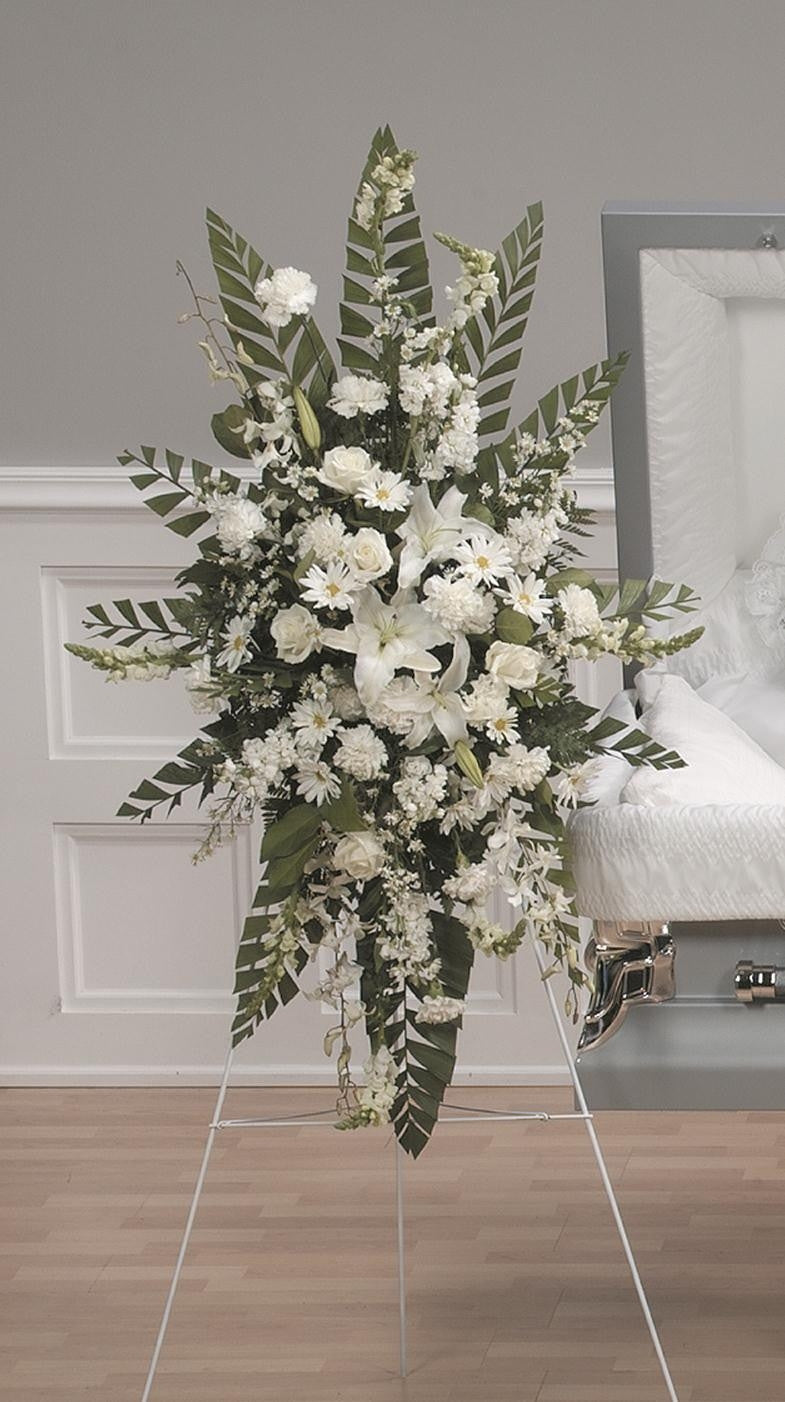 White Standing Spray Ctt 2 11 Country Elegance Florists