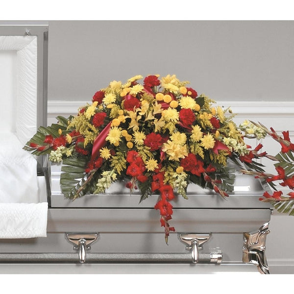 Yellow & Red Casket Spray CTT 43-11