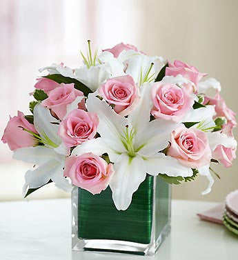 Modern Embrace Pink Roses & Lilies.