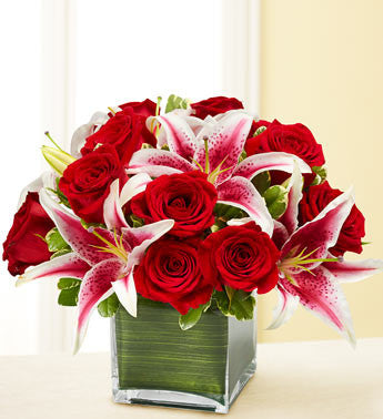 Modern Embrace Red Roses & Lilies.
