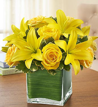 Modern Embrace Yellow Rose & Lilies.