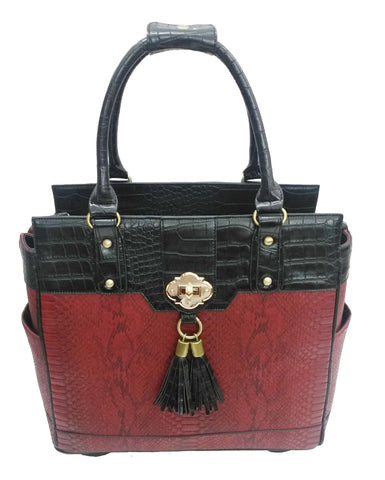 Red Python & Black Alligator Rolling Laptop Tote Holdall Bag