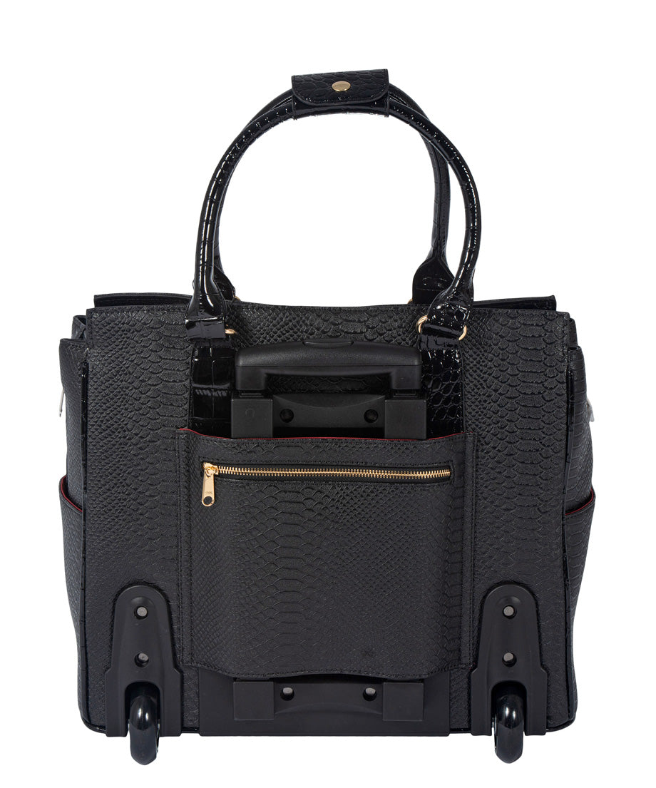 """THE BARRINGTON"" Python & Alligator Rolling  iPad, Tablet or Laptop Tote Carryall Bag"