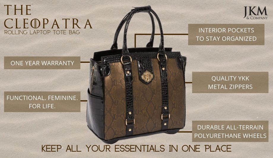 """THE CLEOPATRA"" Rolling iPad, Tablet, or 15.6"" Laptop Holdall Tote Bag"
