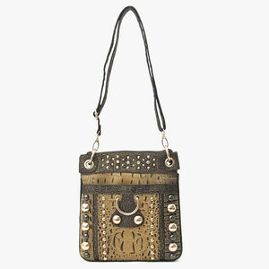 Bronze Faux Alligator Cross Body Messenger Bag - JKM and Company - Custom Rolling Handbags