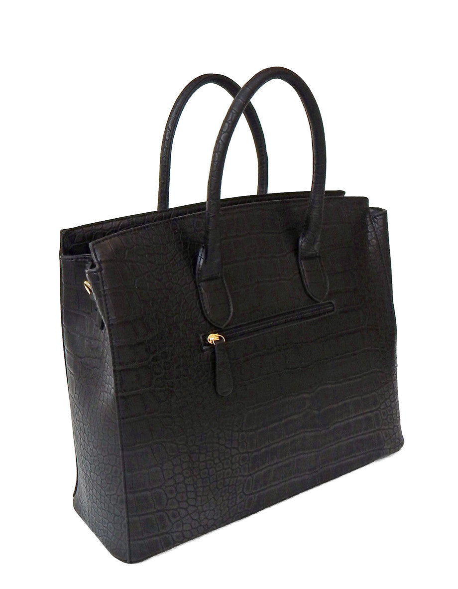 "Black Faux Alligator Crocodile Padlock iPad, Tablet or MacBook or MacBook Air 11"" - 13"" Handbag - JKM and Company - Custom Rolling Handbags"