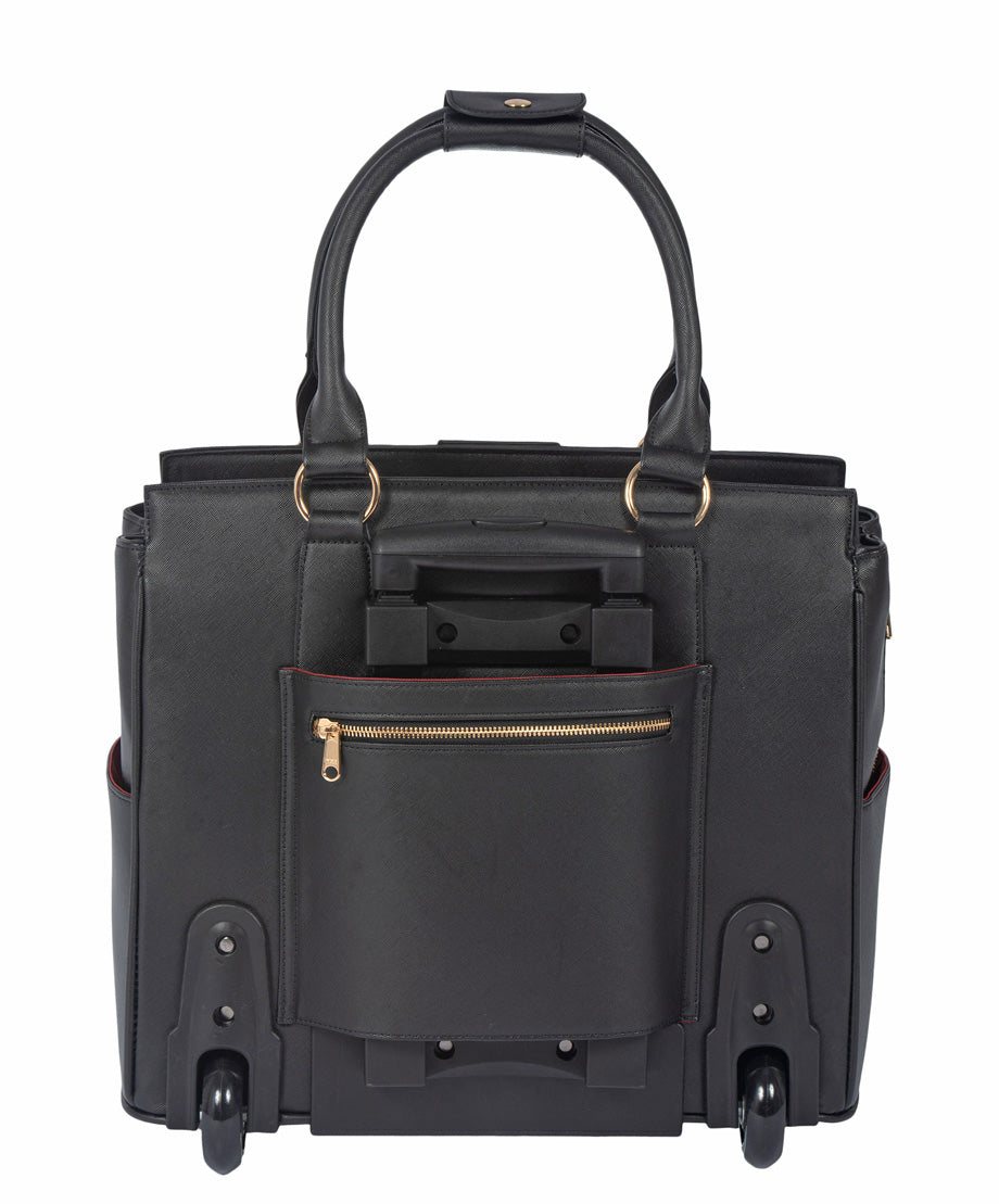 """THE EXECUTIVE"" Black Computer iPad, Laptop Tablet Rolling Tote Bag Briefcase Carryall Bag"