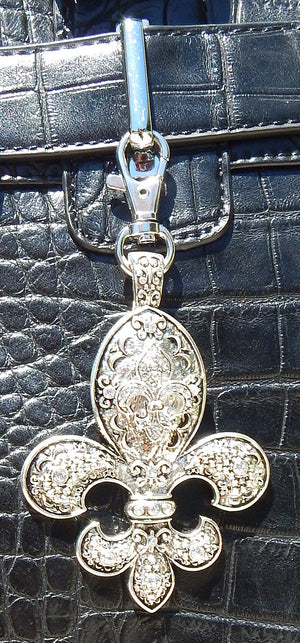 Fleur De Lis Silver & Rhinestone Purse/Trolley Bag Charm - JKM and Company - Custom Rolling Handbags