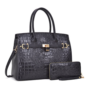 BLACK FAUX ALLIGATOR CROCODILE HANDBAG & WALLET - JKM and Company - Custom Rolling Handbags