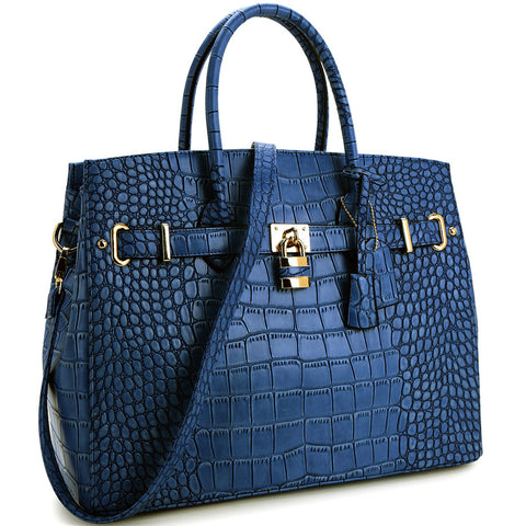Blue Faux Alligator Crocodile Padlock iPad, Tablet or MacBook or MacBook Air 11