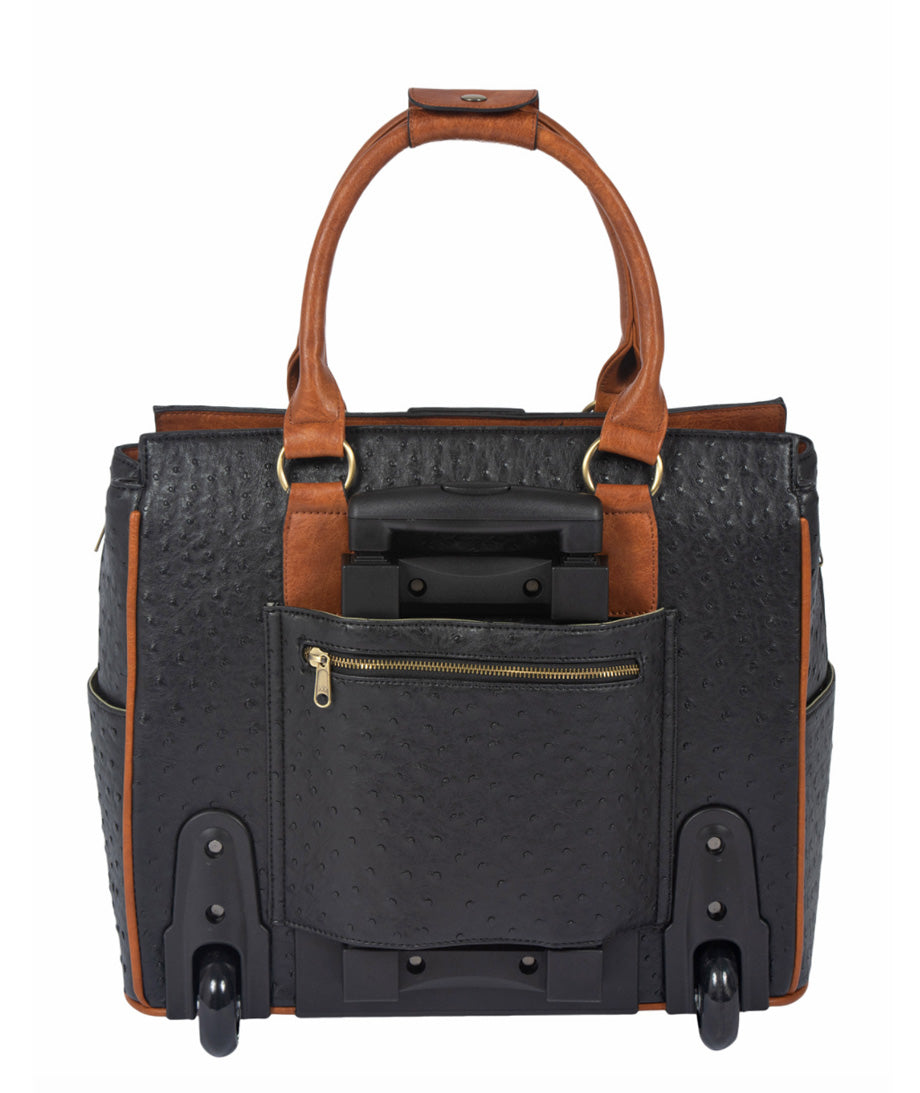 """THE A-LIST OSTRICH"" Rolling  iPad, Tablet or 15.6"" Laptop Tote Carryall Bag - JKM and Company - Custom Rolling Handbags"