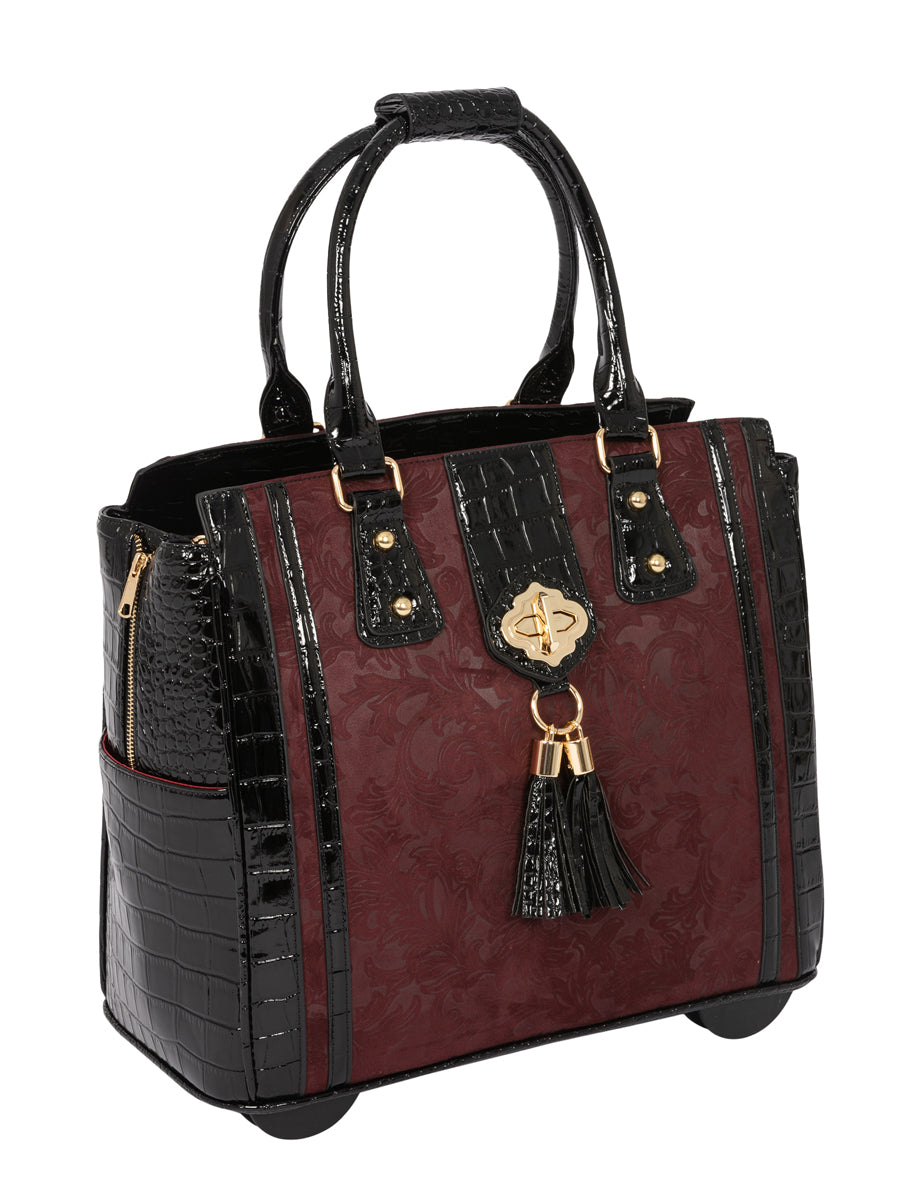 """THE BELLA BORDEAUX"" Rolling Laptop Carryall Trolley Bag (fits up to a 17.3"" laptop)"