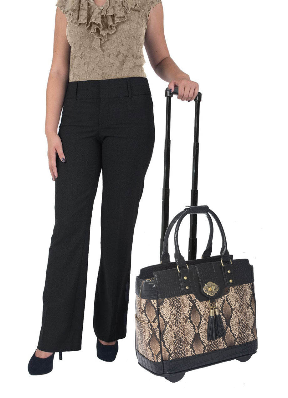 """THE BARCELONA"" Rolling  iPad, Tablet Laptop Tote Carryall Bag"