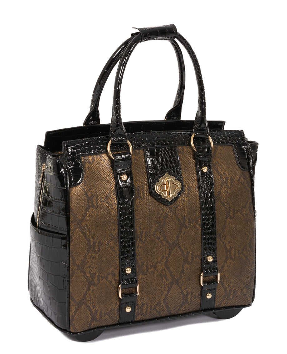 """THE CLEOPATRA"" Rolling iPad, Tablet, or 15.6"" Laptop Holdall Tote Bag - JKM and Company - Custom Rolling Handbags"