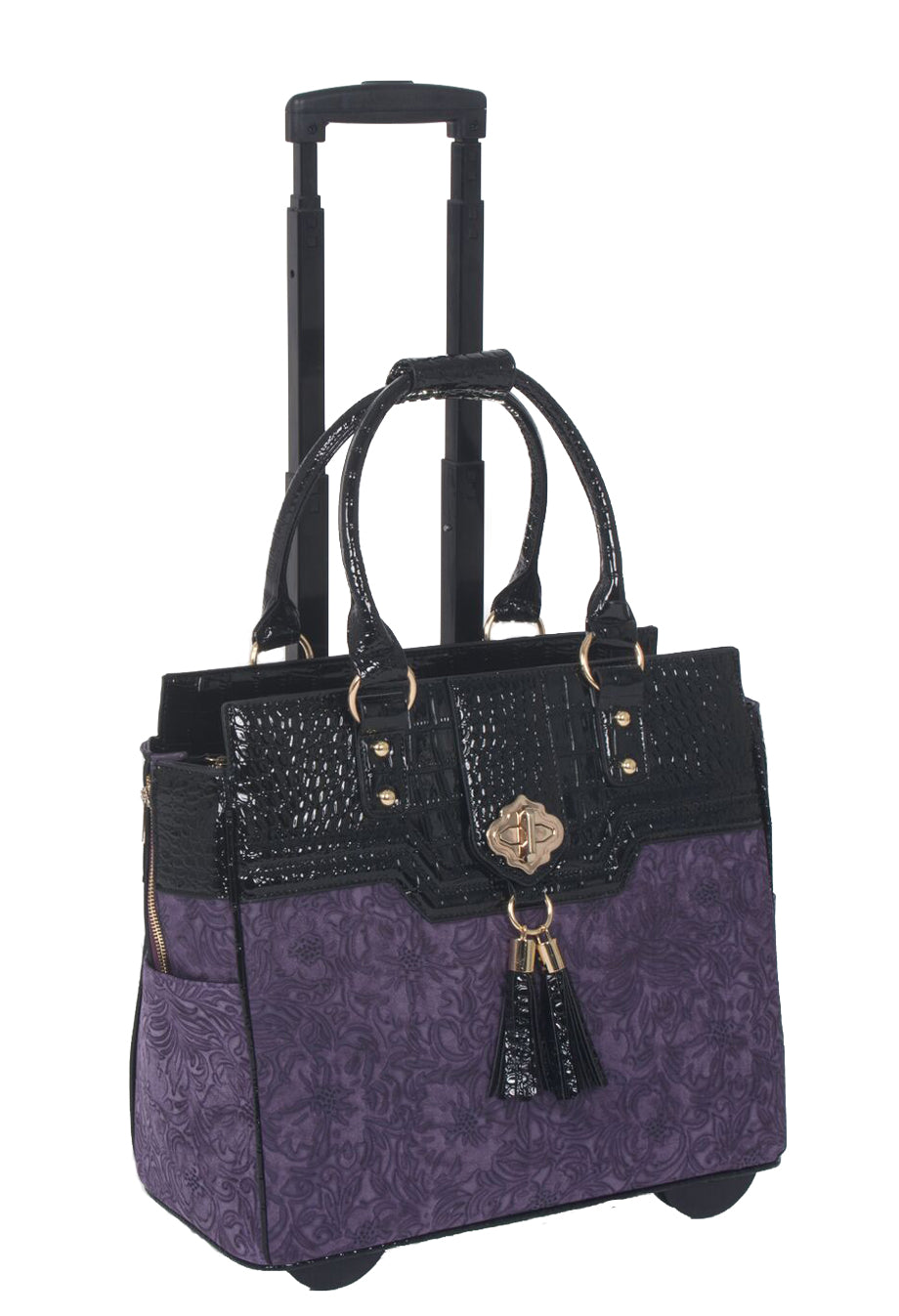 """THE CONTESSA"" Purple & Alligator Rolling 15.6"" Laptop Carryall Trolley Bag - JKM and Company - Custom Rolling Handbags"