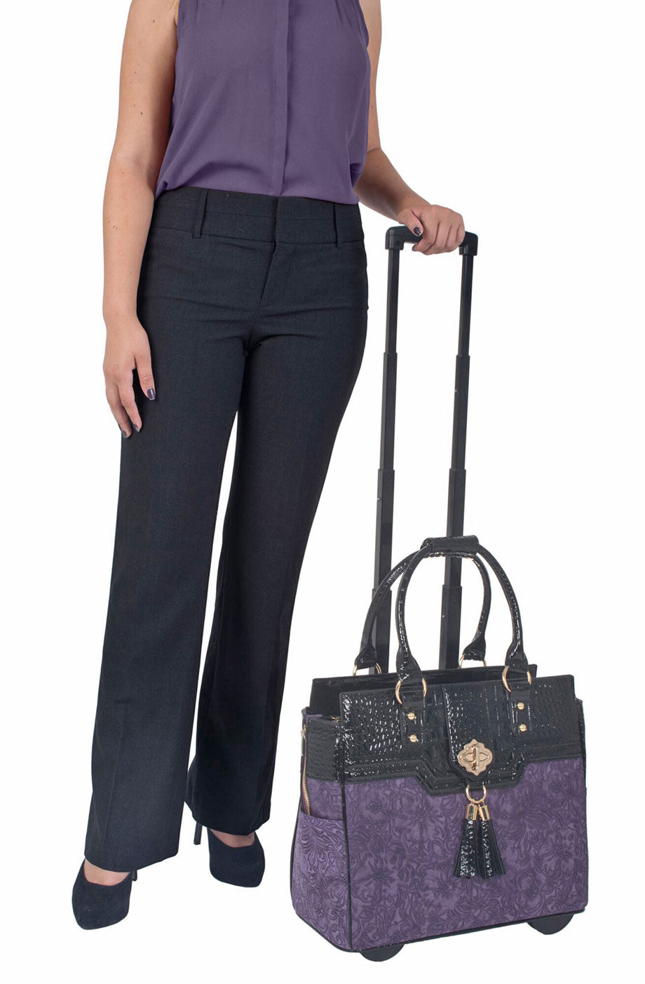 "ARRIVING LATE JANUARY -- ""THE CONTESSA"" Purple & Alligator Rolling 16"" Laptop Carryall Trolley Bag"