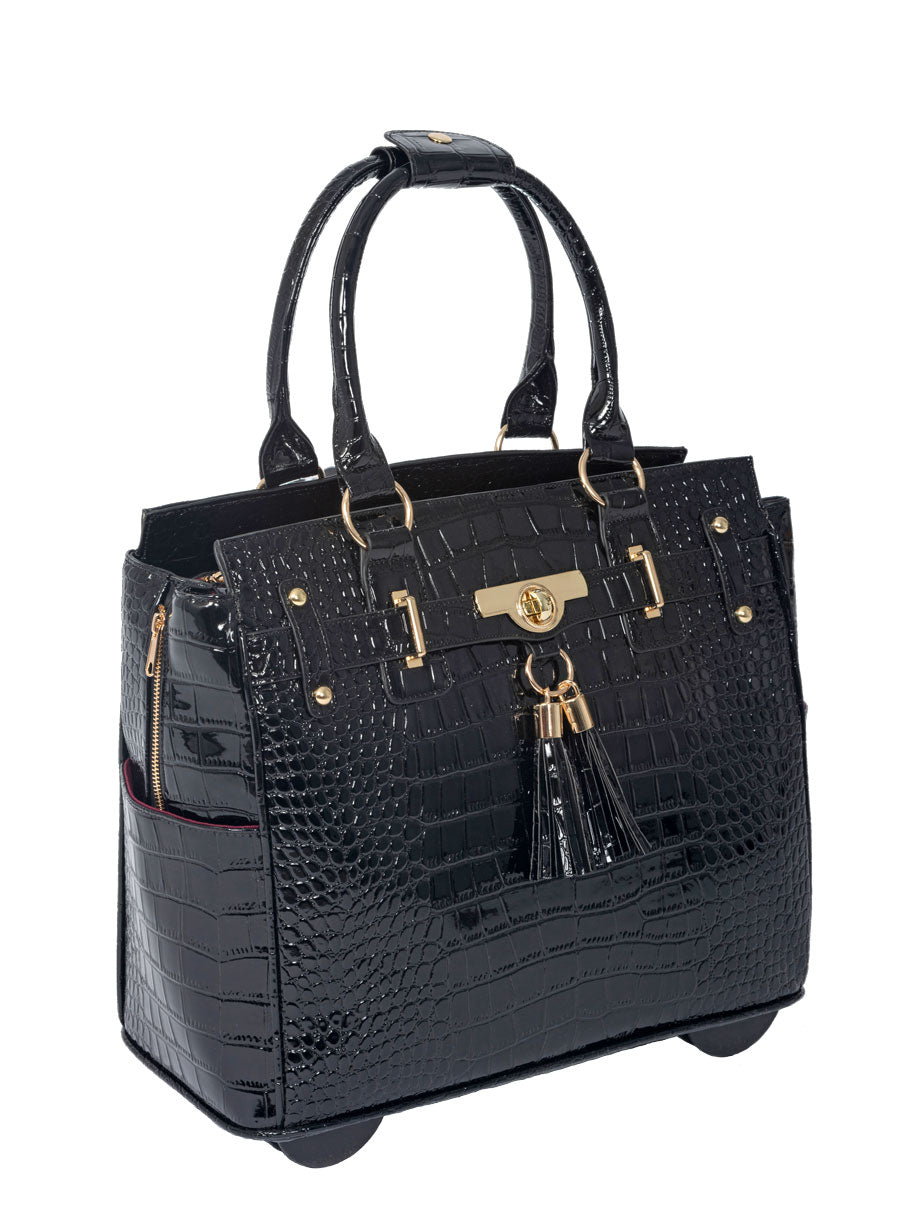 """THE COSMOPOLITAN"" Patent Alligator Rolling  iPad, Tablet or Laptop Tote Carryall Bag"