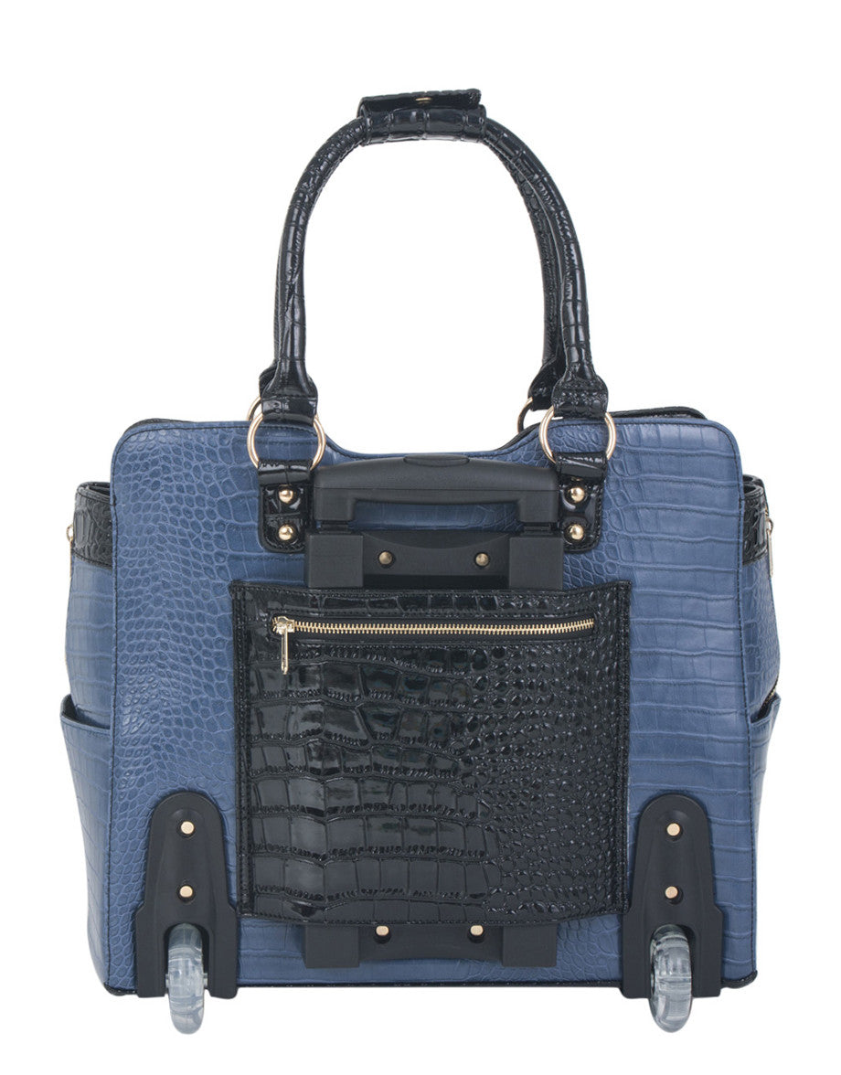 """TRUE BLUE"" Alligator Rolling iPad, Tablet or 15"" Laptop Tote Carryall Bag - JKM and Company - Custom Rolling Handbags"