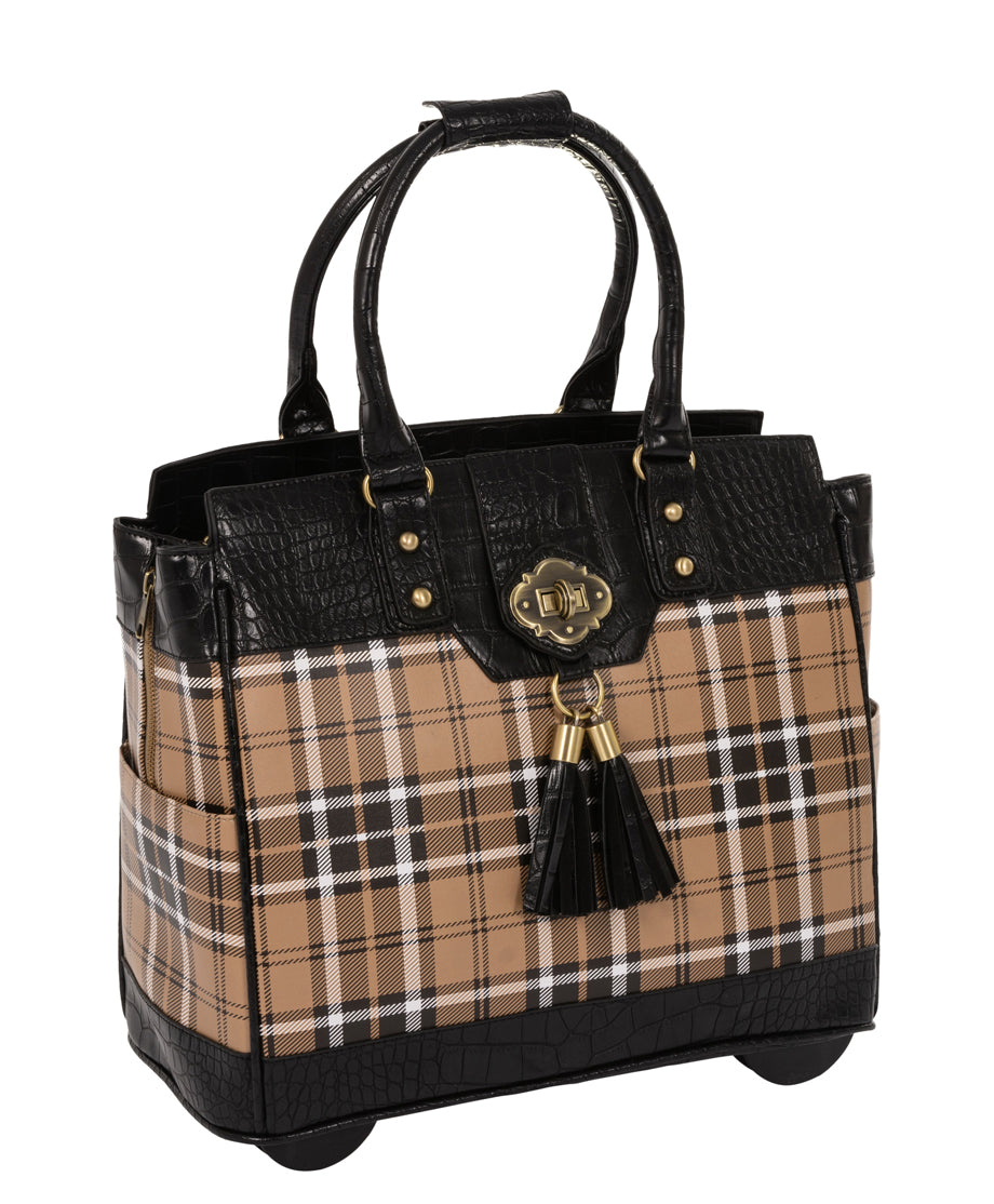 """MAD FOR PLAID"" Rolling 15.6"" Laptop Tote Holdall Bag - JKM and Company - Custom Rolling Handbags"