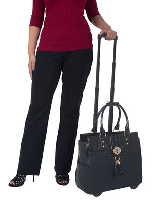 """THE MILANO"" Black & Alligator Rolling 15.6"" Laptop Carryall Trolley Bag - JKM and Company - Custom Rolling Handbags"