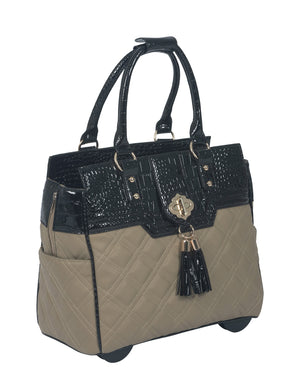 """THE MONTECARLO"" Quilted Alligator Rolling 16"" Laptop Carryall Trolley Bag"