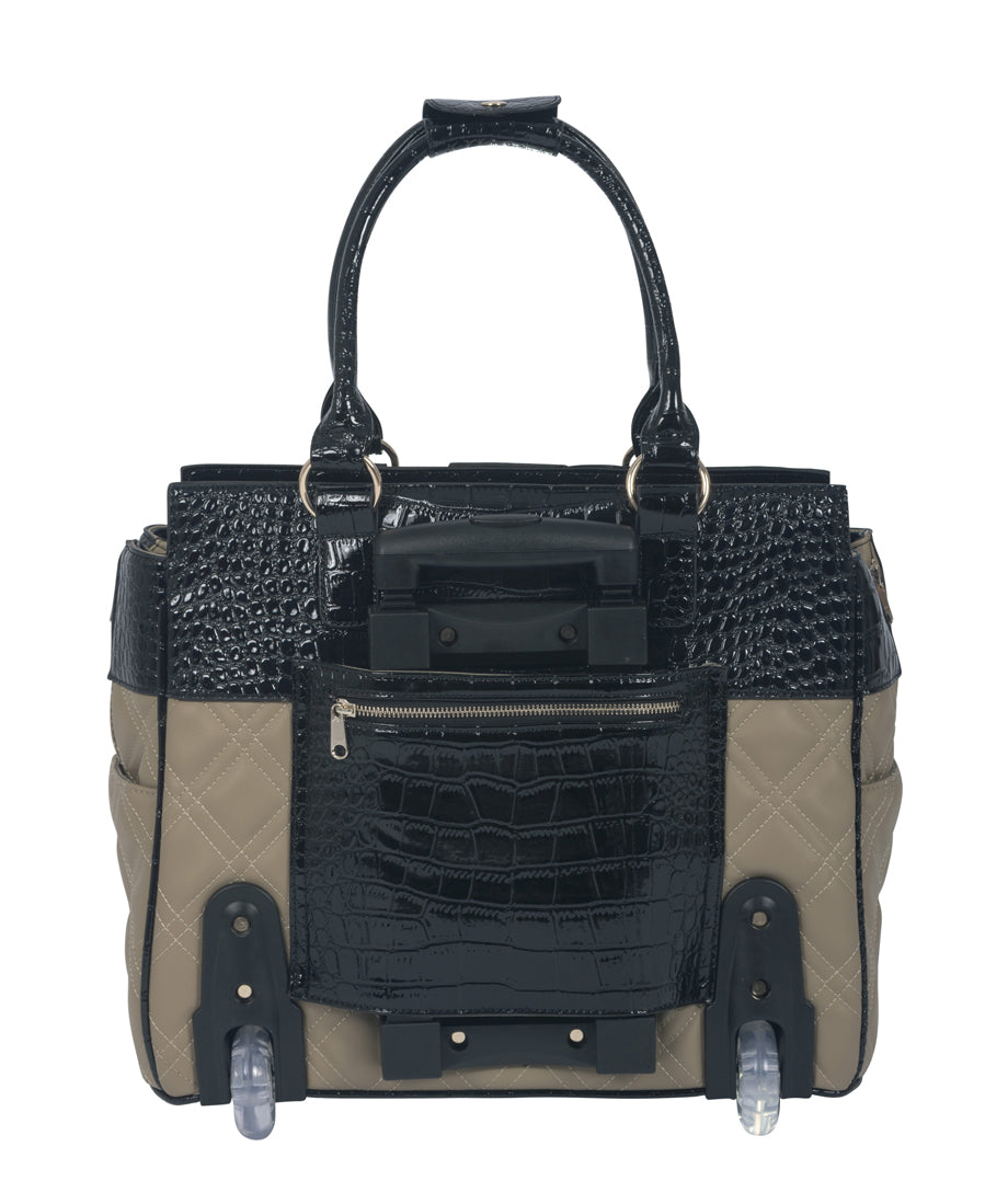 """THE MONTECARLO"" Quilted Alligator Rolling 16"" Laptop Carryall Trolley Bag - JKM and Company - Custom Rolling Handbags"