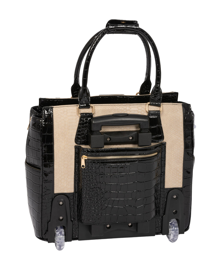"""THE MONTECITO"" Python & Alligator Rolling Laptop Carryall Trolley Bag (fits up to a 17"" laptop)"