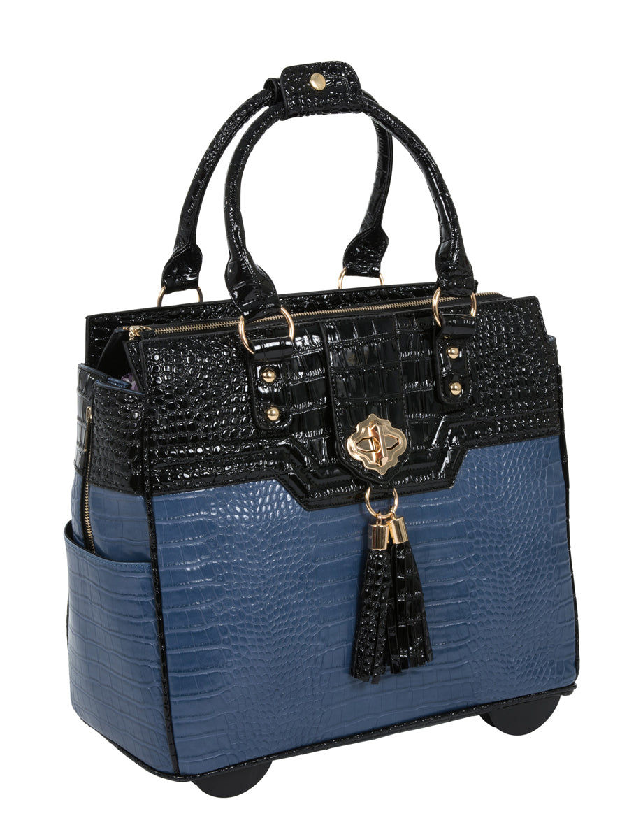 """THE OCEANSIDE"" Blue & Black Alligator Rolling 15.6"" Laptop Carryall Trolley Bag - JKM and Company - Custom Rolling Handbags"