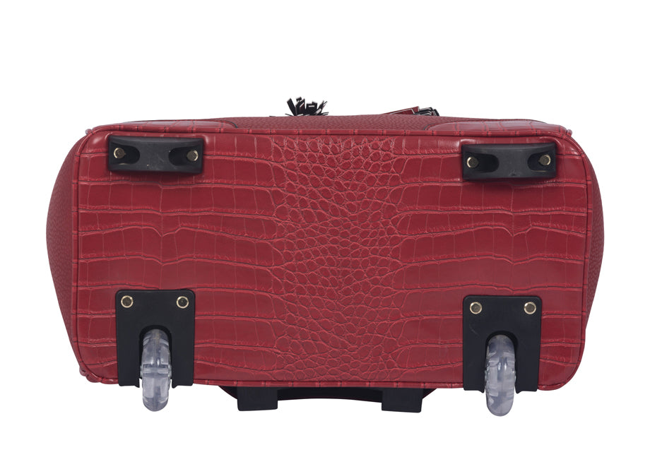 """THE PHOENIX"" Red Rolling iPad, Tablet or Laptop Tote Carryall Bag"